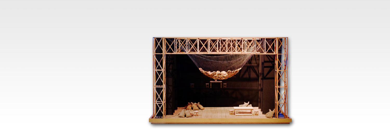 Teatrí de Fabià Puigserver per a Terra baixa, d'Àngel Guimerà, dirigida per Josep Montanyès amb la companyia Teatre de l'Escorpí, el 1975