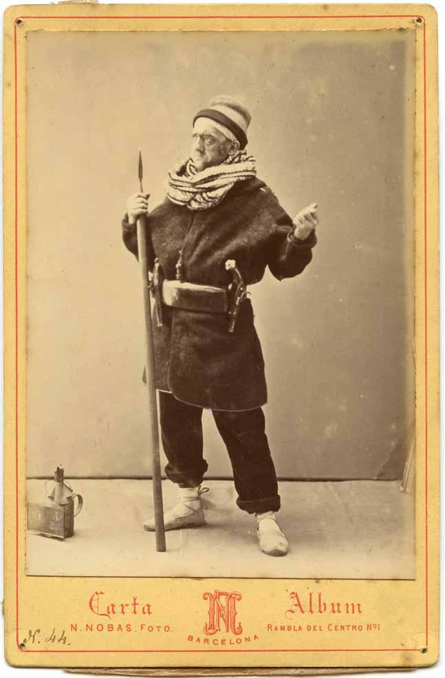 Retrat d'estudi de Lleó Fontova per a l'obra La castanyada d'Eduard Vidal Valenciano representada al Teatre Circ el març de 1871,realitzat per Narcís Nobas