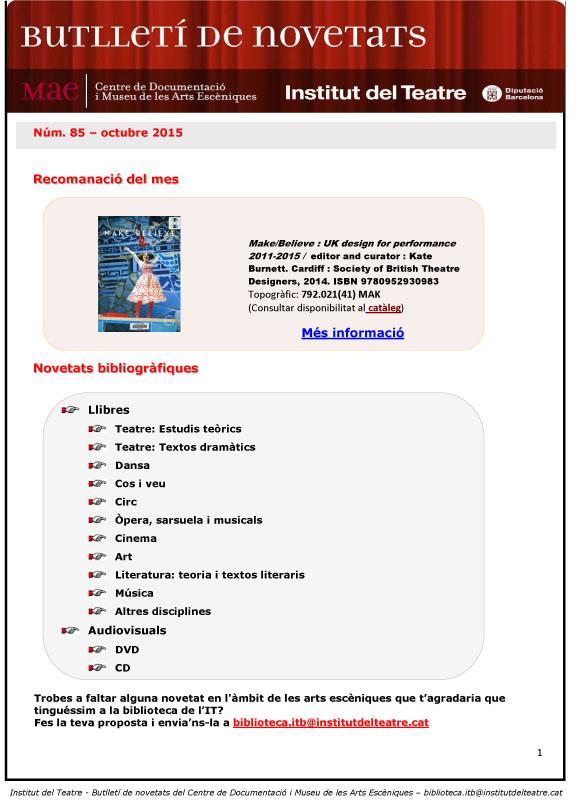 Butlletí de novetats bibliogràfiques i audiovisuals d'octubre 2015 del MAE