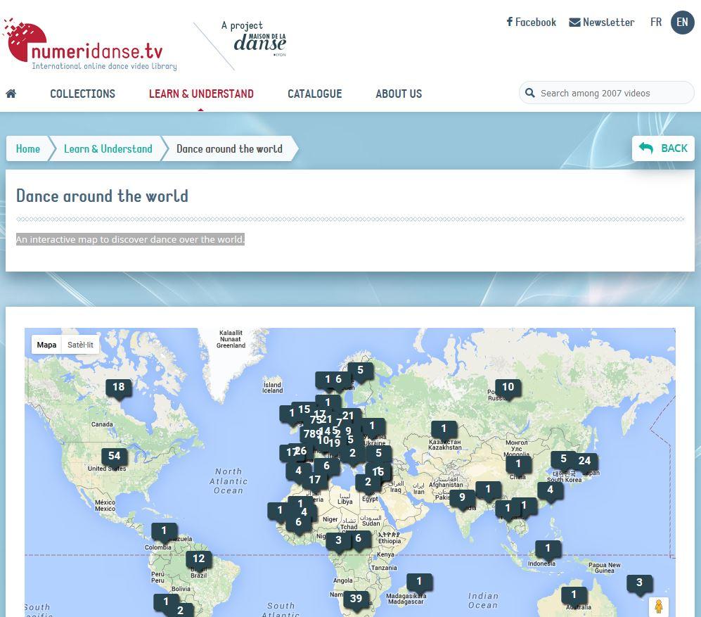 Mapa interactiu de Numeridanse.tv