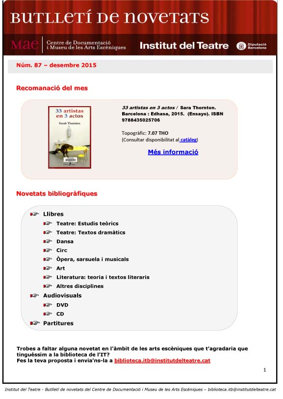 Butlletí de novetats bibliogràfiques i audiovisuals del MAE de desembre de 2015