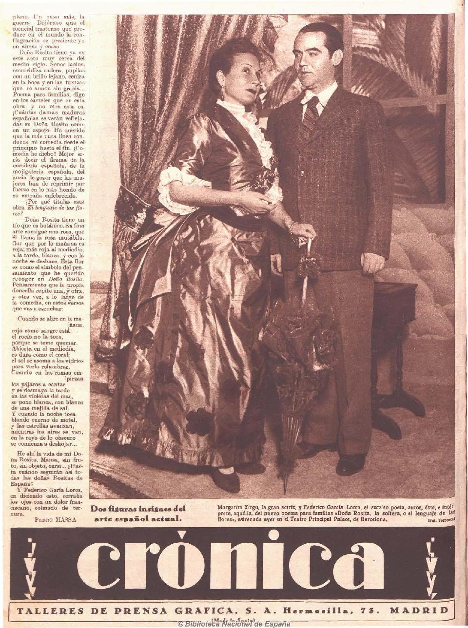 Crítica de l'estrena de Doña Rosita la soltera o el lenguaje de las flores, de Federico García Lorca, estrenada per la Compañía Margarita Xirgu el 13 de desembre de 1935 al Teatre Principal de Barcelona, publicada al diari Crónica, el 15 de desembre de 1935