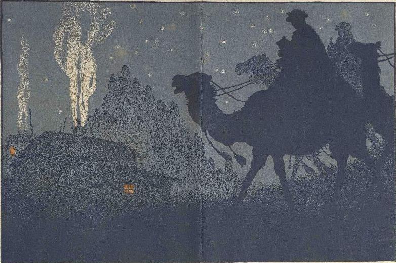 """Dibuix d'Adrià Gual pel cartell del Festival """"Nadal i Reis del nen pobre"""" de 1921"""