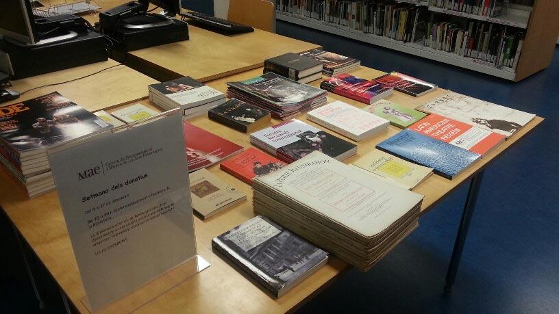 Setmana dels donatius 2015 (del 9 al 17 de desembre) a la biblioteca de Barcelona del MAE