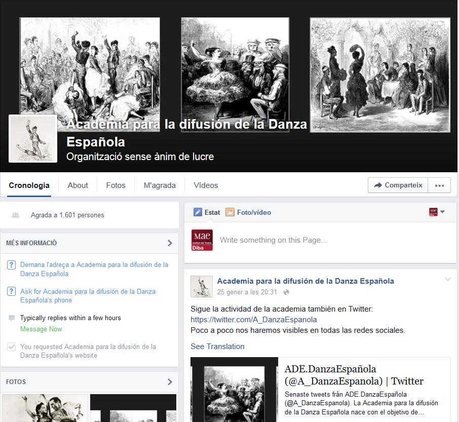 Facebook de l'Academia para la Difusión de la Danza Española