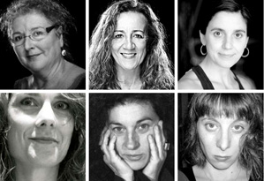 Participants de la taula rodona Altres dones de teatre, dins l'exposició Actrius catalanes del segle XX (Palau Robert de Barcelona, 28 gener 2016)