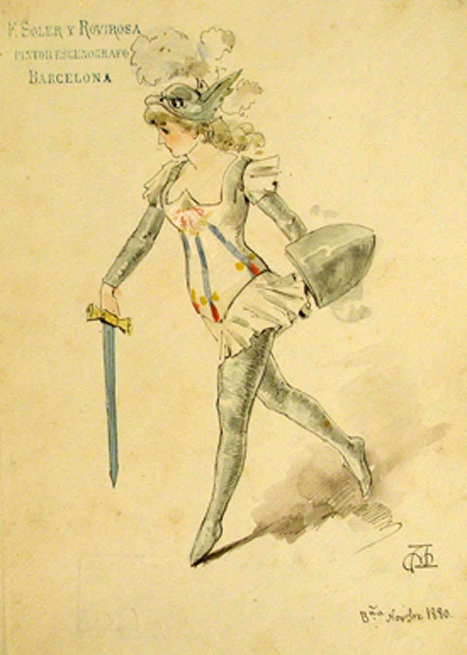 Figurí d'un personatge de Clorinda, d'Apel·les Mestres, 1880. Col·lecció de figurinisme del MAE