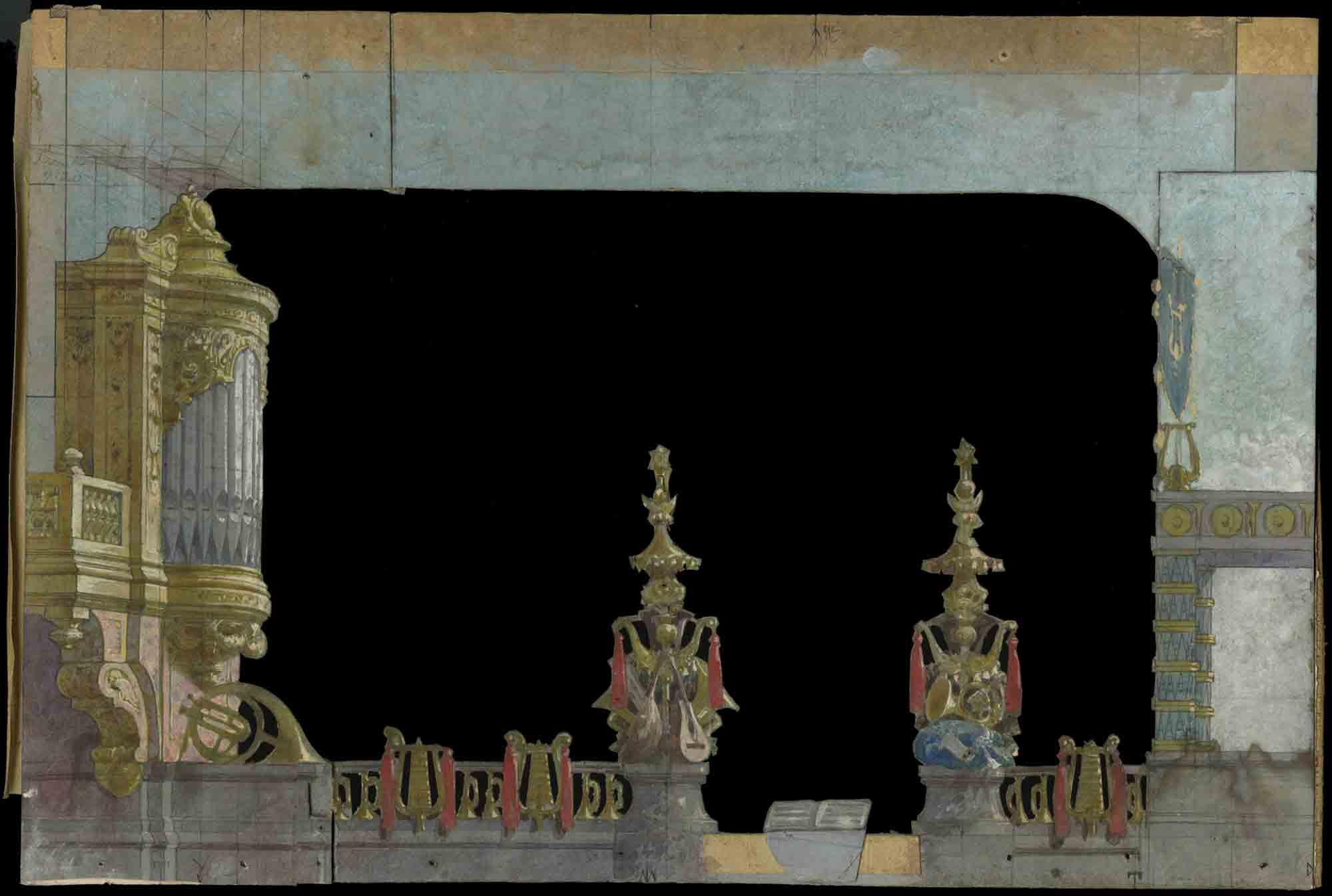 Peça del teatrí del 3r acte de Clorinda, de Francesc Soler i Rovirosa, 1880. Col·lecció escenogràfica del MAE