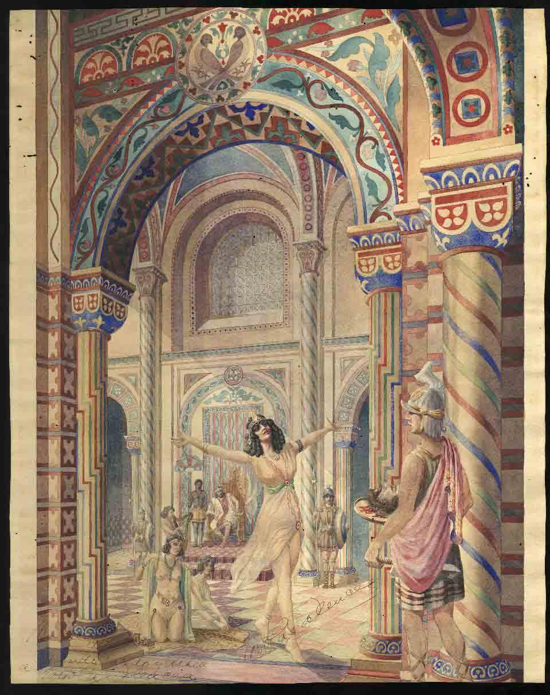 Tórtola Valencia com a Salomé. Dibuix de Ricardo Macedo (1918)