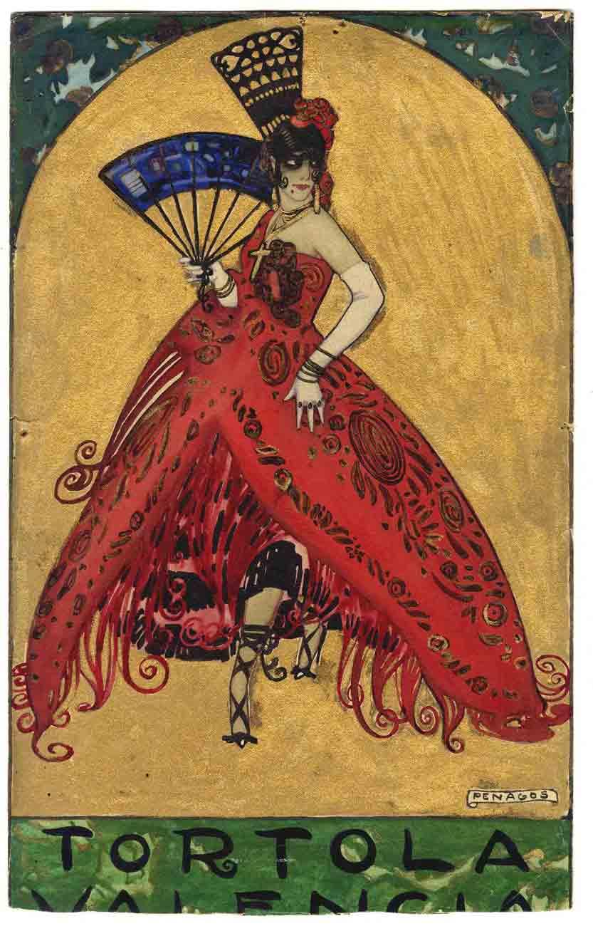 Tórtola Valencia vestida de maja. Dibuix per a un cartell, de Rafael de Penagos (entre els anys 1915 i 1920)