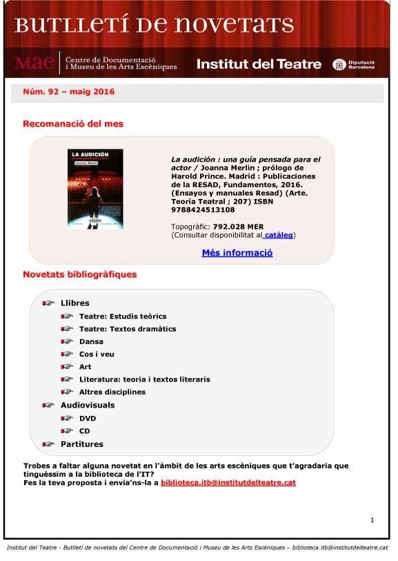 Butlletí de novetats biblioogràfiques i audiovisuals del MAE del mes de maig de 2016