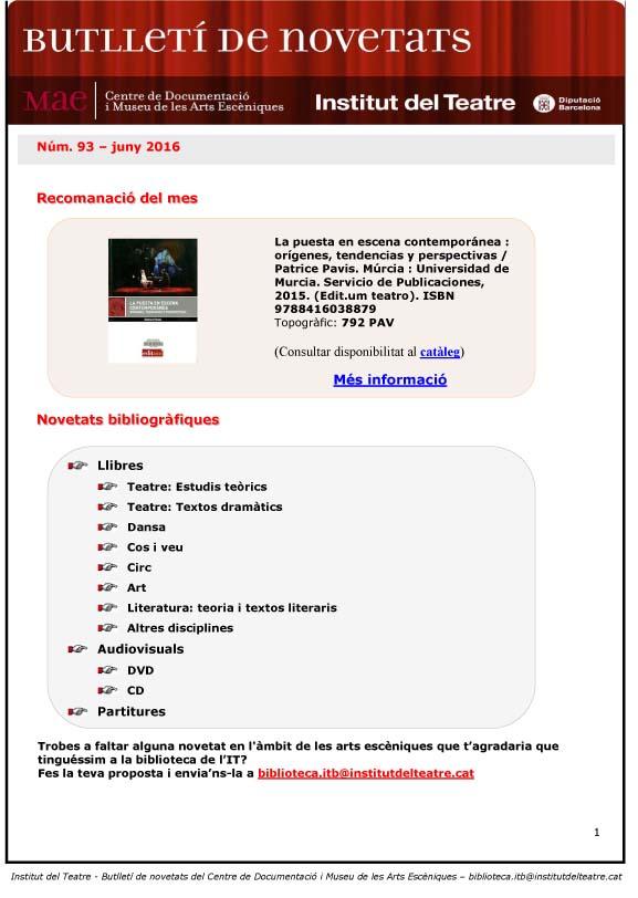Butlletí de novetats bibliogràfiques i audiovisuals del MAE, de juny de 2016