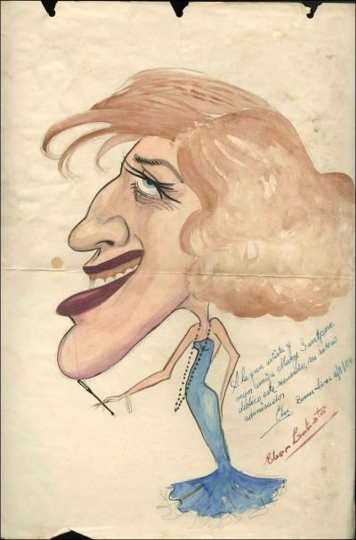 Caricatura de Mary Santpere, per Éber Lobato, 1956. Fons Mary Santpere