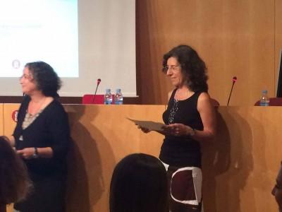 D'esquerra a dreta Teresa Sala, coordinadora de màster i Carme Carreño, conservadora del MAE, a la sessió inaugural del Màster de Gestió del Patrimoni Cultural i Museologia de la Universitat de Barcelona, el 16 de setembre de 2016 a l'Auditori de l'Institut del Teatre