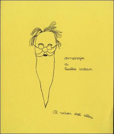 """Dibuix d'un nen o nena de la companyia El Ratón del Alba, en motiu de l'escenificació """"La cabeza del Dragón"""" de Valle-Inclán al Teatro Español de Madrid, 1969. Fons El Ratón del Alba del MAE"""