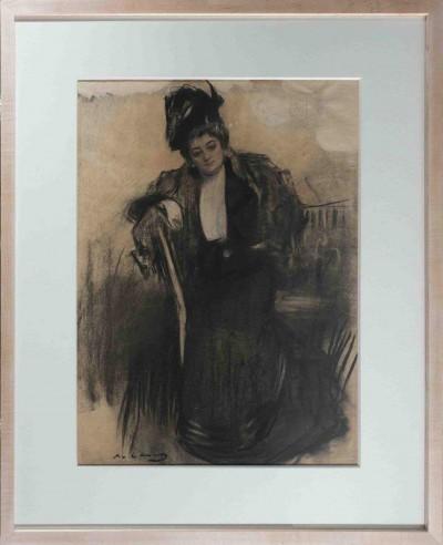 Dibuix de Ramon Casas de l'actriu italiana Teresa Mariani. Fet aproximadament el 1900. Fons d'art del MAE
