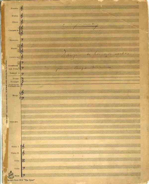 """Partitura manuscrita Danza de los ojos verdes, d'Enric Granados, dedicada a Antonia Mercé """"La Argentina"""". Fons Antonia Mercé La Argentina"""