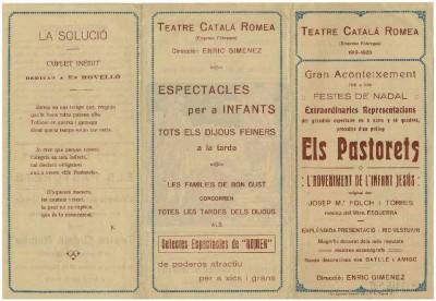 Programa de mà de Els Pastorets o l'adveniment de l'infant Jesús, de Josep M. Folch i Torres. Teatre Romea. 18 desembre 1919