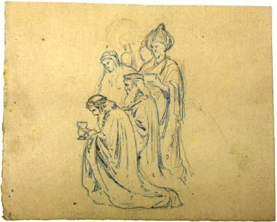 Esbós escenogràfic d'Oleguer Junyent dels Reis d'Orient, aproximadament entre 1900 i 1930