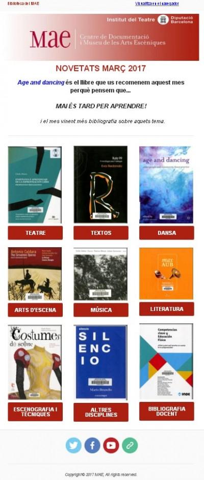 Butlletí de novetats bibliogràfiques i audivisuals del MAE de març de 2017