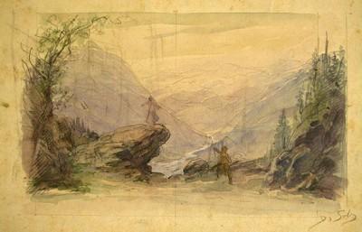 Esbós escenogràfic de Domènec Soler i Gili, ca. 1910