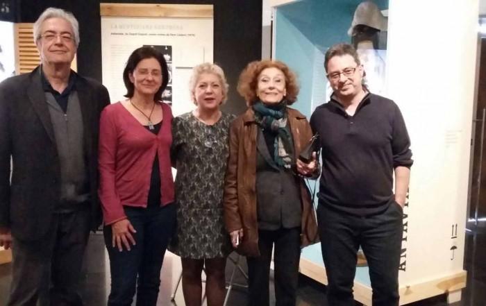 D'esquerra a dreta: Jordi Fàbregas, director del CSD, Anna Valls, directora del MAE, Magda Puyo, directora de l'Institut del Teatre, Julia Gutiérrez Caba, i Carles Batlle, director de Serveis Culturals de l'IT. Visita al MAE. 22 març 1917