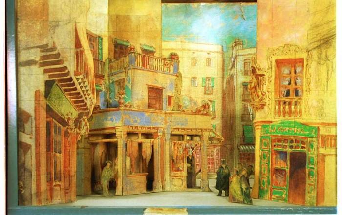 Teatrí d'Olaguer Junyent per a l'obra L'auca del senyor Esteve, de Santiago Rusiñol, per a l'estrena al Teatre Tívoli el 12 de maig de 1917. Fons escenogràfic del MAE