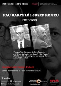 Cartell de l'exposició Pau Barceló i Josep Romeu. Vestíbul del Teatre Estudi, 19 setembre a 15 novembre 2017