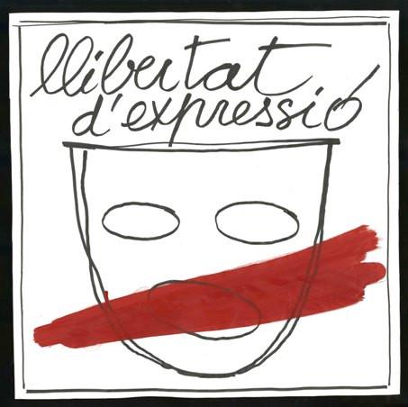 Dibuix de Fabià Puigserver per a l'adhesiu de la campanya de llibertat d'expressió contra la prohibició de La Torna i l'empresonament d'Albert Boadella d' Els Joglars, 1977. Fons Fabià Puigerser del MAE
