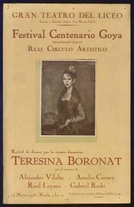 Cartell del Festival Centenario Goya al Gran Teatre del Liceu el 1928 amb un retrat de Teresina Boronat realitzat per Ignacio Zuloaga
