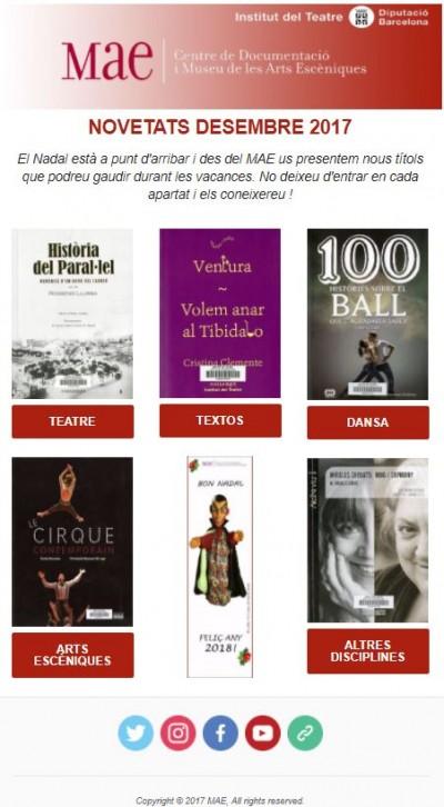 Butlletí de novetats bibliogràfiques i audiovisuals del MAE, desembre 2017