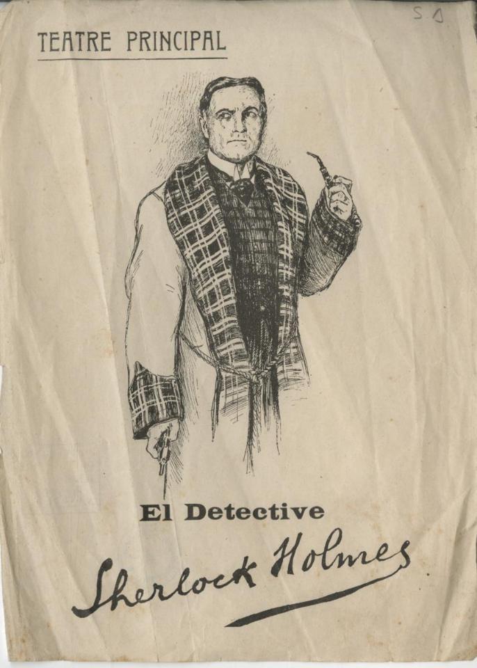 Cartell de El detective Sherlock Holmes al Teatre Principal de Barcelona, 1908