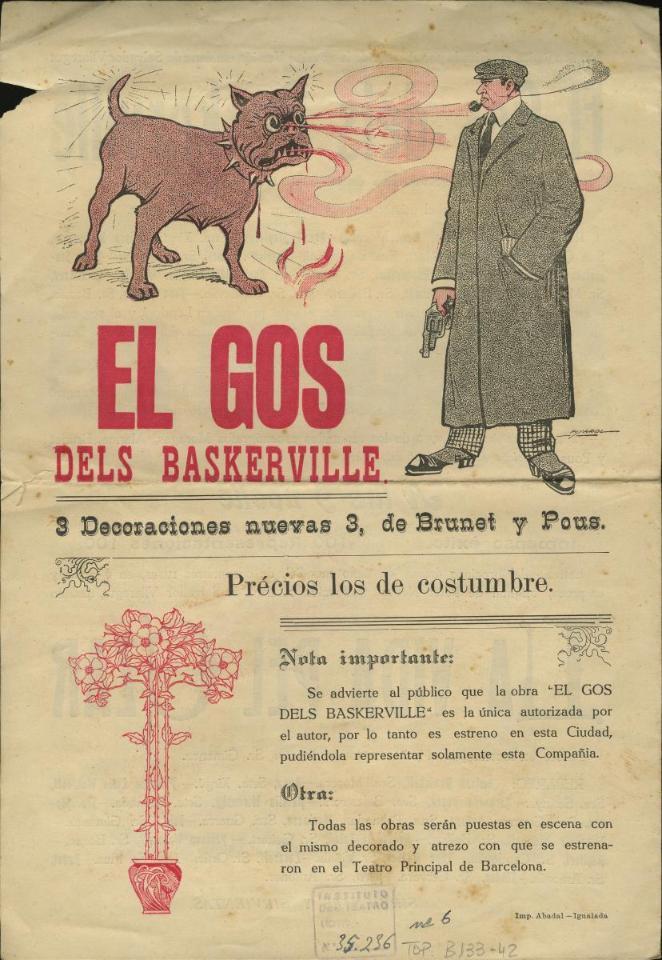 Part del programa de les funcions extraordiàries de la Companyia del Teatre Principal de Barcelona del dies 24 i 25 d'agost de 1909 al Cercle Mercantil, on apareix El gos de Baskerville