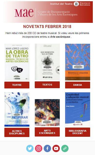 Butlletí de novetats bibliogràfiques i audiovisuals de febrer de 2018