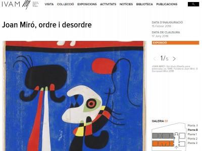 """Exposició """"Joan Miro, ordre i desordre"""", IVAM, 15 febrer al 17 juny 2018"""