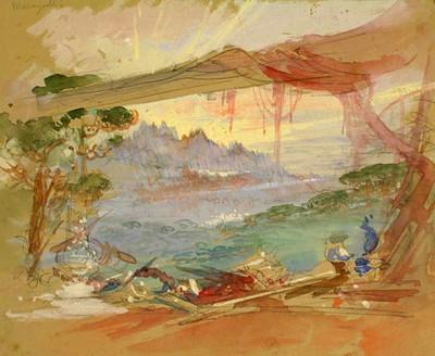 Esbós escenogràfic La Santa Espina, d'Oleguer Junyent, Teatre Principal de Barcelona, 1907