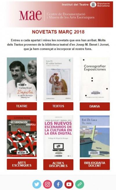 Butlletí de novetats bibliogràfiques i audiovisuals de les biblioteques del MAE de març de 2018