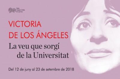 """Cartell de l'exposició """"Victoria de los Ángeles. La veu que sorgí de la Universitat"""", Centre Cultural El Carme, Badalona, del 12 juny a 23 setembre 2018"""