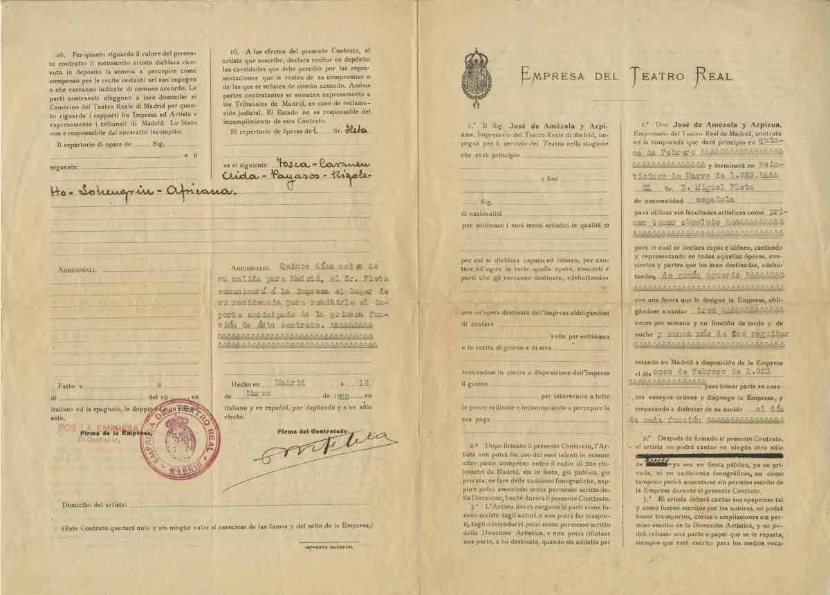 Contracte del Teatro Real de Madrid a Miguel Fleta de 1922. Fons Teatro Real i arxiu Luis París.