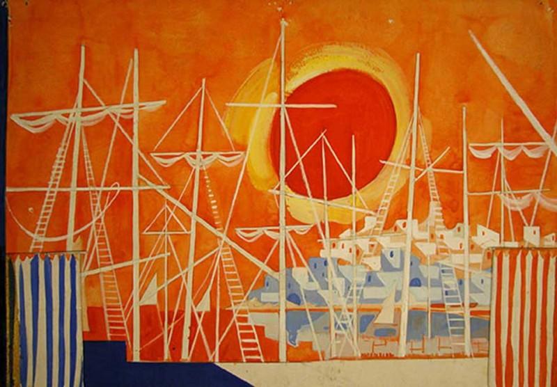 Esbós escenogràfic del nostre fons Amadeu Asensi González, realitzat per Emilio Burgos per a l'obra Barcelona 2000, dirigida per José M. Loperena i estrenada el setembre de 1971 al Teatre Romea de Barcelona