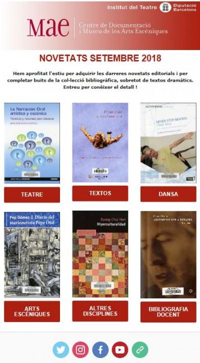 Butlletí de novetats bibliogràfiques i audiovisuals del MAE de setembre de 2018