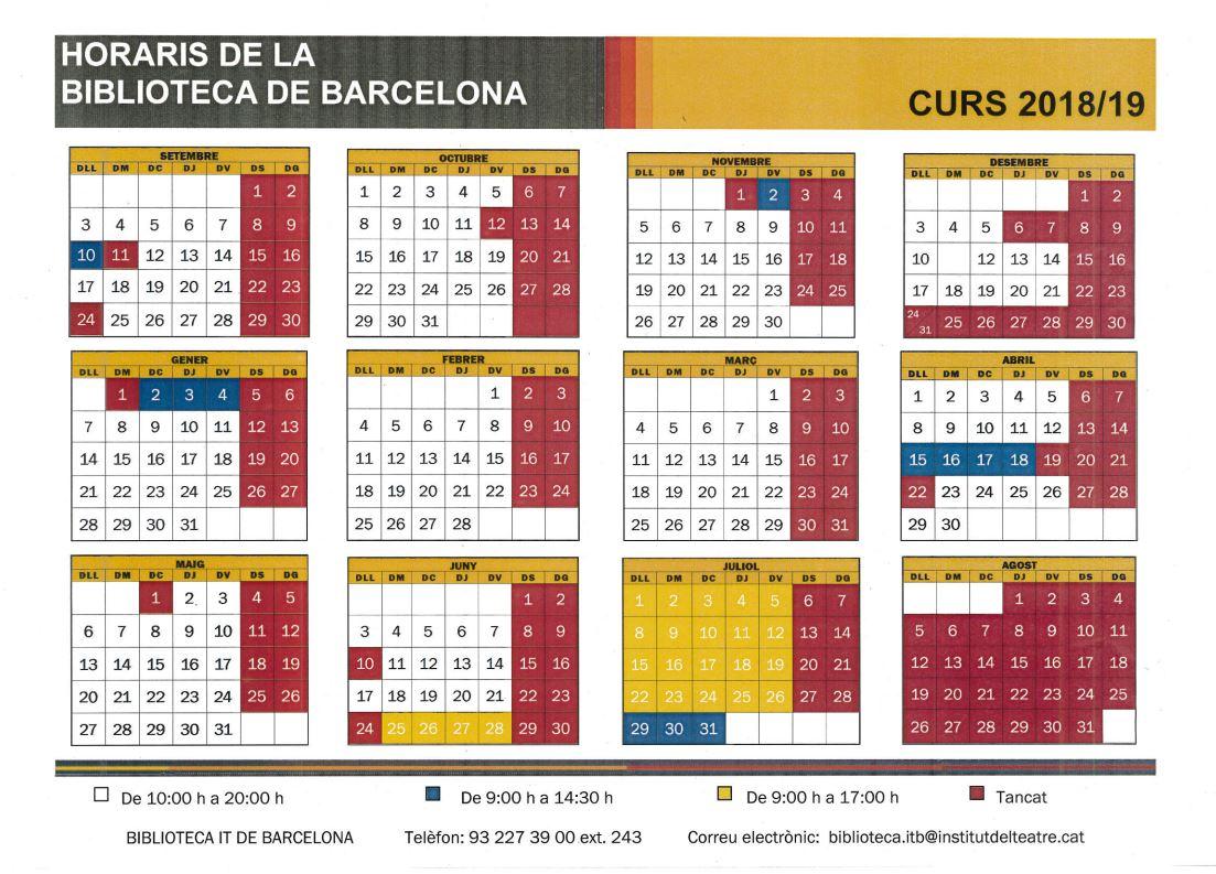 Horari de la biblioteca de Barcelona, curs 2018-2019