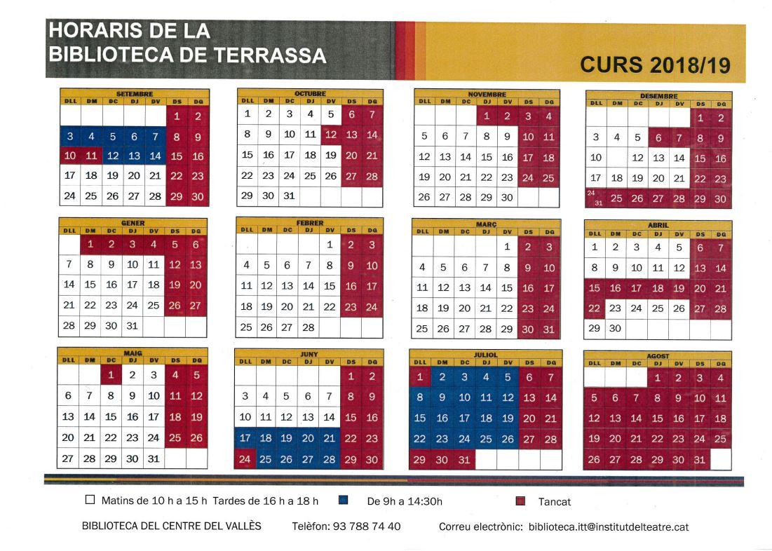 Horari de la biblioteca de Terrassa,l curs 2018-2019