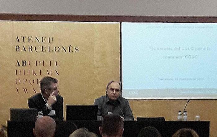 Jordi Coca, a l'acte d'inauguració de la Jornada del CSUC, Ateneu Barcelonès, 19 octubre 2018