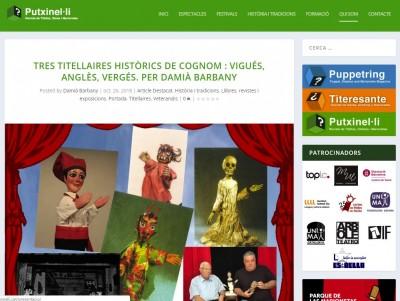 """Article de Damià Barbany """"Tres titellaires històrics: Vigués, Anglès, Vergés"""", Putxinel·li, 26 octubre 2018"""