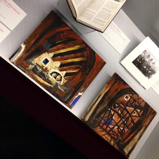 """Esbossos escenogràfic de Sigfrid Burmann per Fuenteovejuna a l'exposició """"Lope y el teatro del Siglo de Oro"""", Biblioteca Nacional de Madrid, del 28 novembre 2018 al 17 març 2019."""