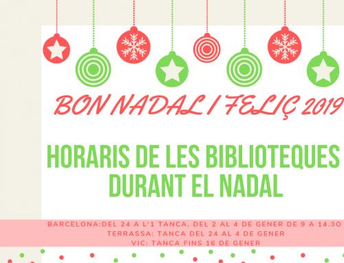 Horaris de les biblioteques durant el Nadal