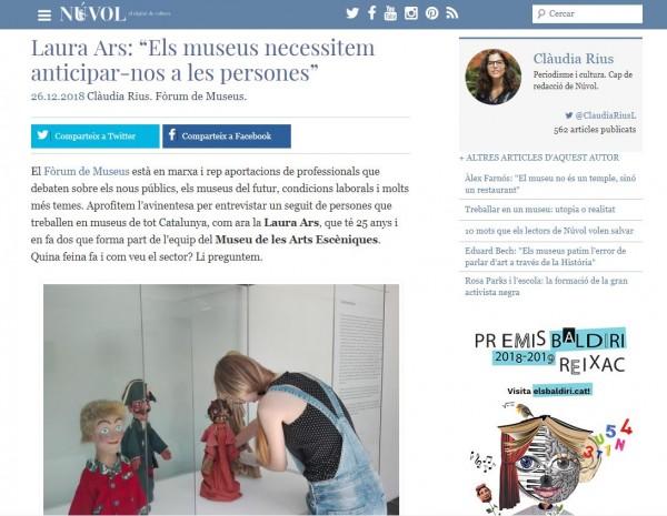 """Entrevista a Laura Ars, a """"Núvol, digital de cultura"""", 26/12/2018, on explica la feina que fa al nostre museu i com veu el sector"""