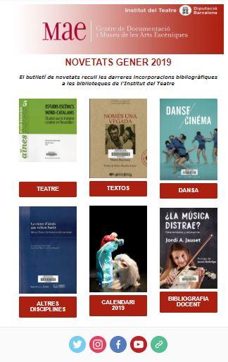 Butlletí de novetats bibliogràfiques i audiovisuals de gener de 2019 del MAE