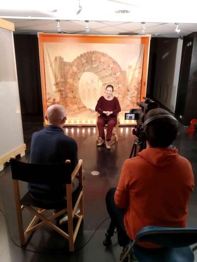 Berta Vallribera, entrevistada per Carlos Muries a la sala d'exposicions del MAE, 24 gener 2019